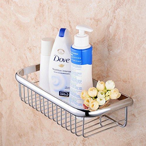 Shower Caddy, Hiendure Corner Stainless Steel Shower Basket Bathroom Shower Shelf Toiletries Organizer Rustproof,Wall Mount,Chrome Finish (Chrome Basket Finish Shower)