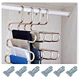 HonTop S-type Multi-Purpose Pants Hangers Rack Stainless Steel Magic for Hanging Trousers Jeans Scarf Tie Clothes,Space Saving Storage Rack 5 layers (3PCS)