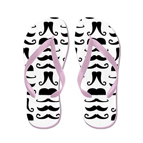 CafePress Mustache Print - Flip Flops, Funny Thong Sandals, Beach Sandals Pink