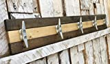 Nautical Boat Cleat Coat Rack, Towel Rack, or Hat Rack, Walnut and Pine