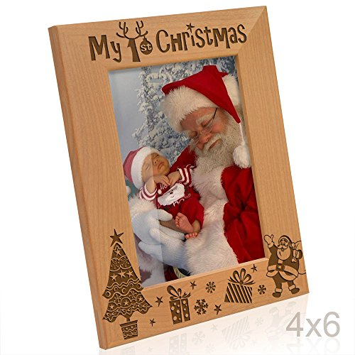 Kate Posh - My First (1st) Christmas Picture Frame, Engraved Natural Wood Photo Frame, Baby's First Christmas Gifts, New Baby Decor, Santa & Me Gifts (4x6-Vertical)