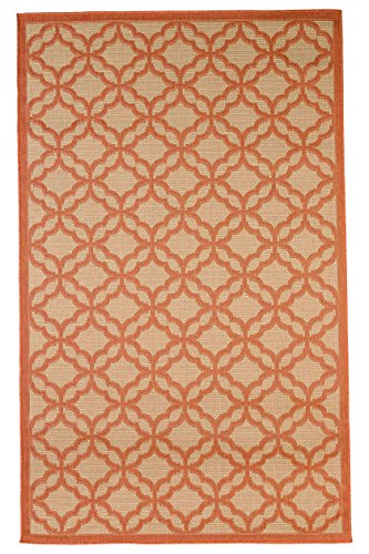 at Weave Indoor/Outdoor Rugs with Contemporary Festival Design Area/Patio Rug Flooring Carpets, Coral (Flat Weave Carpet)