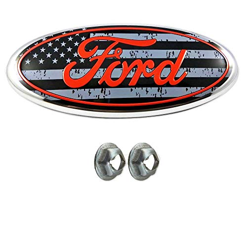Achoc American Flag Grille or Tailgate Emblem with Nuts Oval 9X3.5,3 Mounting Tabs, Front Grill Badge Name Plate for Ford F150 2005-14 Also Fits 05-07 F250 F350 11-14 Edge 11-16 Explorer 06-11 Ranger