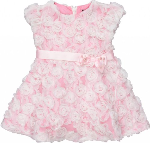 David Charles Of London Party Dress With Ivory Rosettes 9 MO White/Pink -