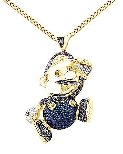 Round Cut Cubic Zirconia Super Mario Hip Hop Pendant in 14K Yellow Gold Over Sterling Silver (2.5 Cttw) by AFFY