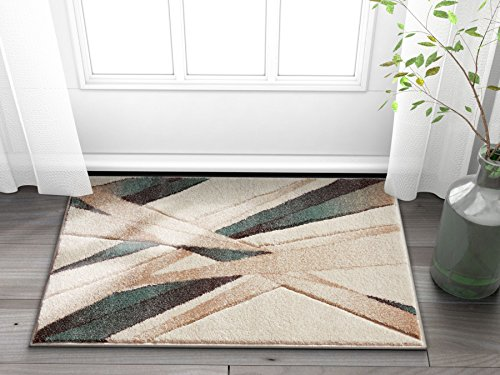 (Well Woven Sortie Soft Blue Modern Geometric Lines Hand Carved 2x3 (2' x 3') Area Rug Easy to Clean Stain & Fade Resistant Thick Soft Plush )