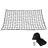 "Trailer Truck Bed Cargo Net 4'x6' Stretches to 8'x12' with 24pcs Aluminium Hooks, 4""x4"" Small Mesh, 1/5"" Dia Thick Latex Bungee Cords"