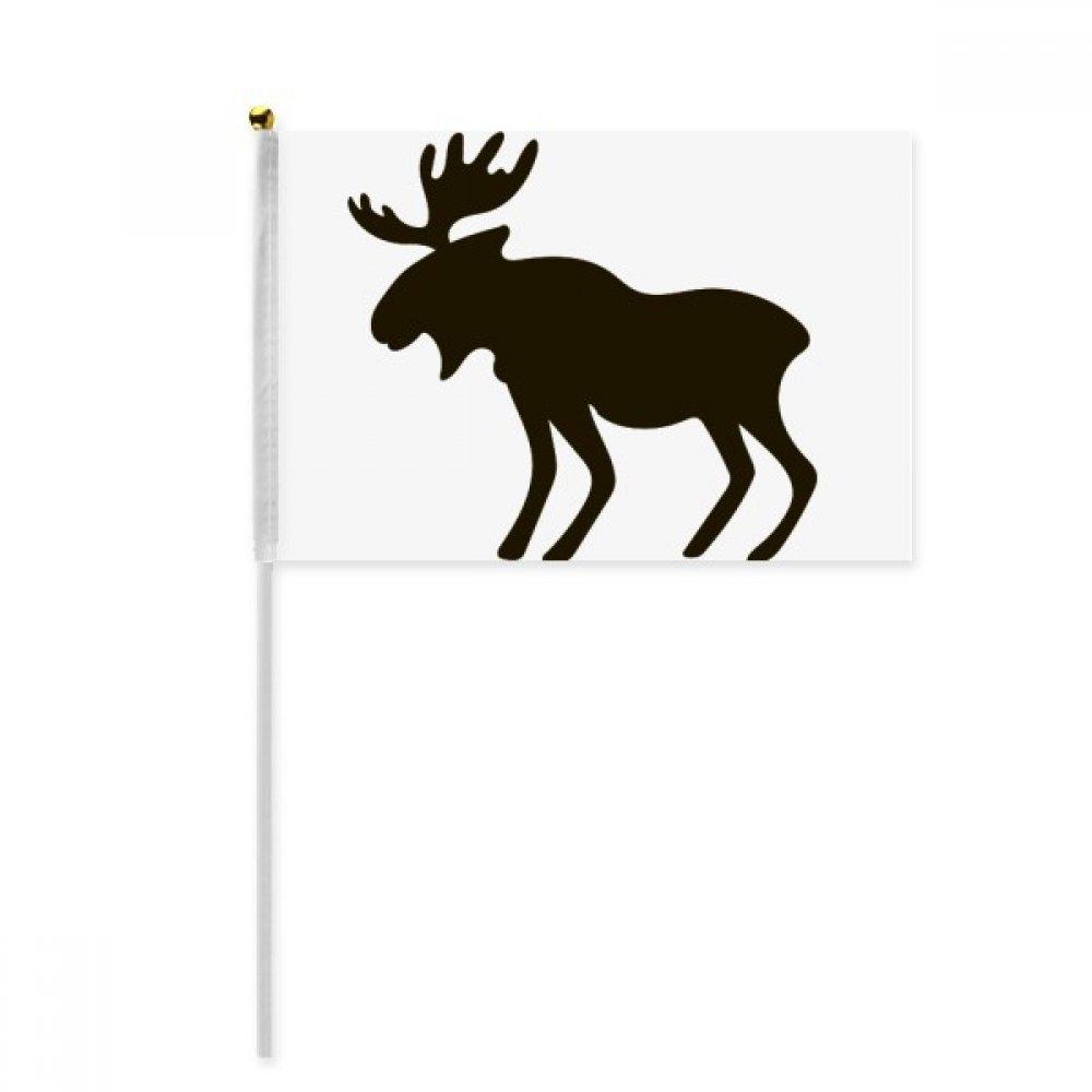 Black Elk Cute Animal Portrayal Hand Waving Flag 8x5 inch Polyester Sport Event Procession Parade 4pcs