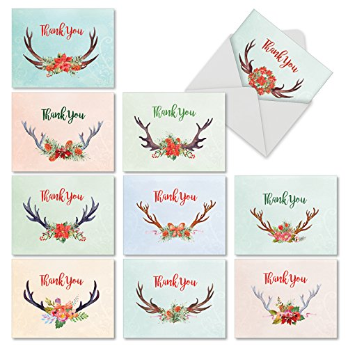 "Mini Boxed Arrangement - 10 Assorted 'Floral Horns' Christmas Thank You Cards with Envelopes (Mini 4"" x 5.25""), Blank Greeting Cards with Thankful Holiday Theme, Featuring Flower Arrangements and Reindeer Antlers #M6720XTB"