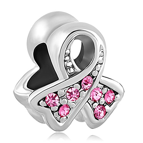 (ThirdTimeCharm Breast Cancer Awareness Ribbon Charm European Bead with Pink Crystals)