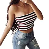 Eolgo 2019 Women's Summer Blouse Sexy Striped Tank Fashion Off Shoulder Shirt Tight Wrap Vest Tops(Red,M)