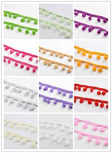 Pom Pom Trim 24yards 10mm Ball Fringe Ribbon Sewing Lace (12colors/Pack 2yards/Color)