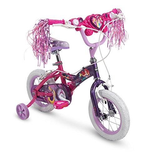 Huffy Disney Princess Girls Bike with Training Wheels, Pink/Purple