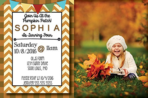 - Custom Birthday Party Invitation - Pumpkin Patch, Fall, Autumn, with Photo