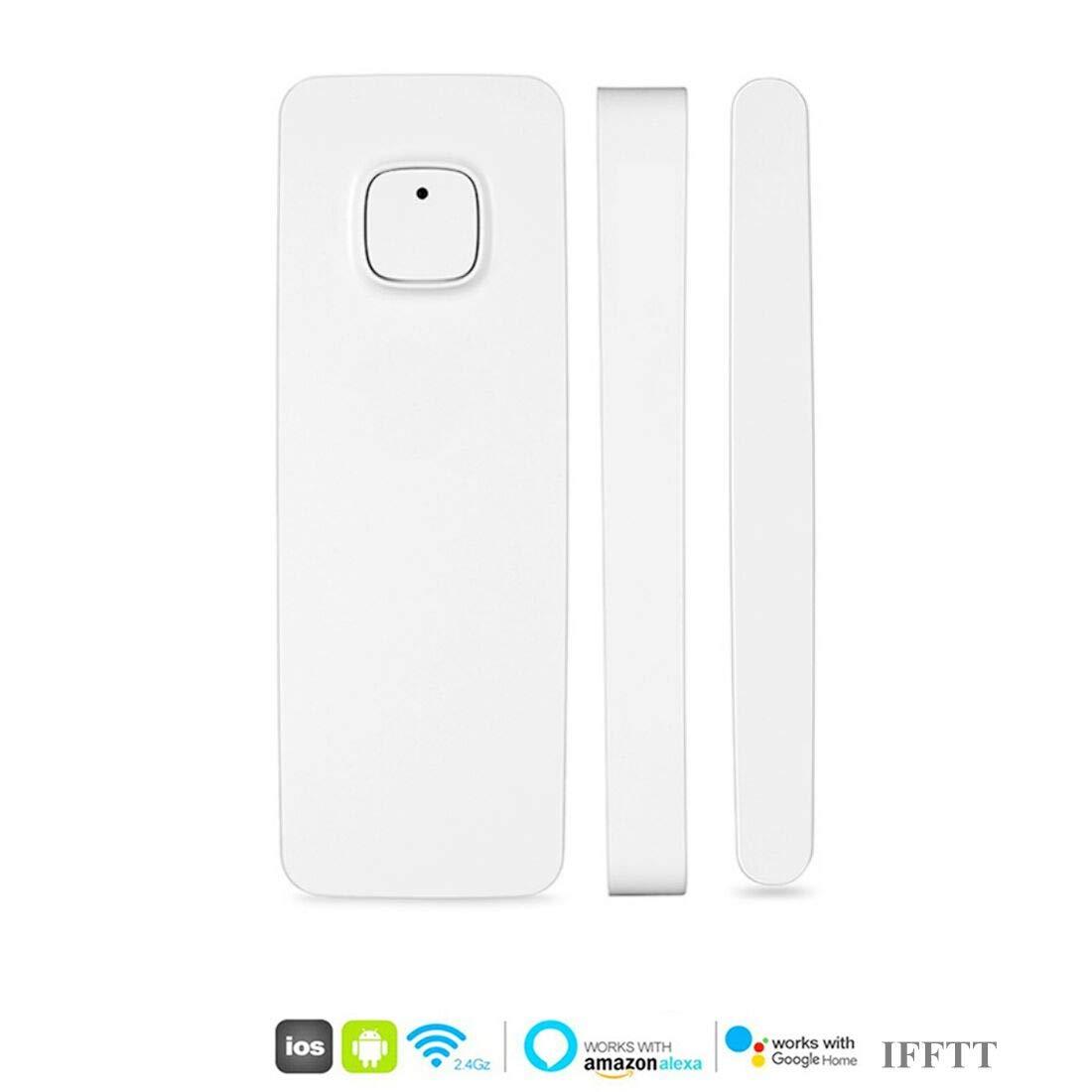 El detector de sensor de imán de puerta de ventana inteligente funciona con Alexa Google Home IFTTT para el sistema de alarma de seguridad antirrobo(paquete ...