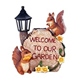 Decor and More Store Welcome to our Garden Squirrel Sign Garden Light Solar Powered Lantern