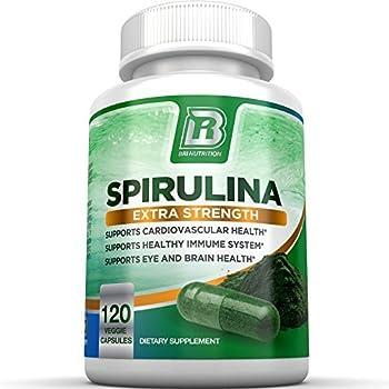 BRI Nutrition Spirulina - 2000mg Maximum Strength Supplement - 30 Day Supply - 120 Veggie Capsules