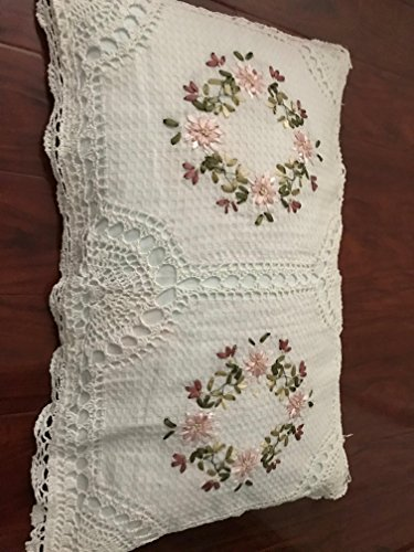"""A & MT Beautiful Crochet Lace Ribbon Embroidered Hand Made Pillow Cover: 20""""X30"""" (51cmX76CM)/Pair: Oblong. White"""
