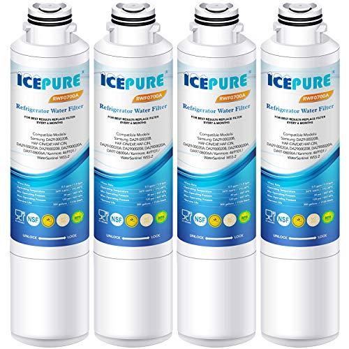 ICEPURE Refrigerator Water Filter, Compatible with Samsung DA29-00020B, DA29-00020A, HAF-CIN/EXP, HAF-CIN, DA97-08006A, Kenmore 469101 [Pack of 4]