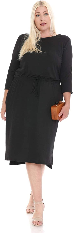 Plus Size Two-Tone Midi Dress with Pockets Eggplant
