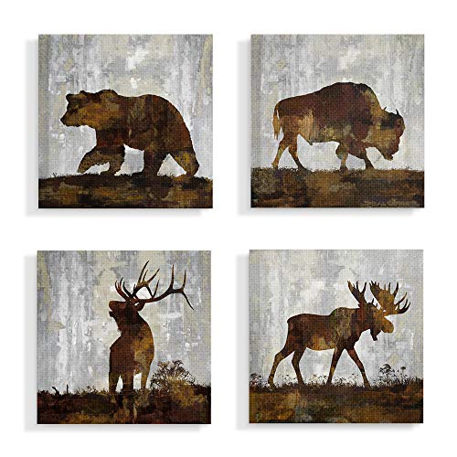 The Stupell Home Décor Collection Grey and Brown Watercolor Distressed Texture Woodland Animals Bear Buffalo Deer and Moose Stretched Canvas Wall Art, 17 x 17, Multi-Color made in New England