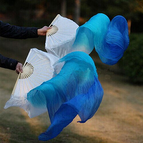 Chinese Handmade Women Real Silk Veils Fans Belly Dance Fan with Bamboo Ribs for Performances Rehearse Entertainment Yanko Dance, 180x90 cm, 1Pair,Light Blue Red by fuzhou hunter trading co.,ltd