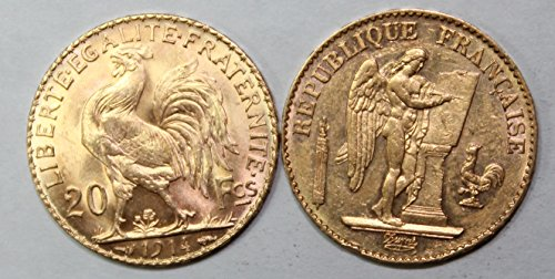 (FR 1871-1914 French Rooster and Lucky Angel Gold Coin Set AU)