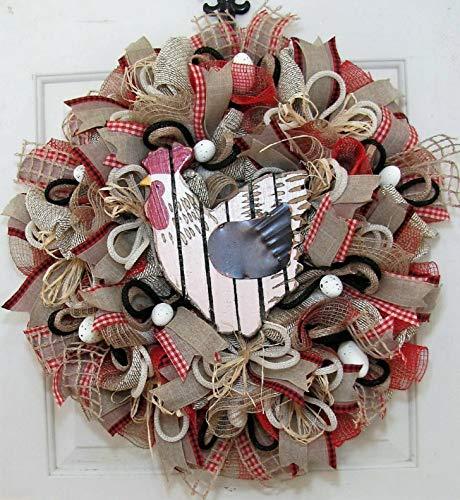 Mikash Farmhouse Chicken Mesh Wreath - Primitive Country Wreath | Model WRTH - 685