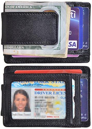 Black Leather Front Pocket Wallet - Hopsooken Money Clip RFID Front Pocket Wallet Men Leather Slim Minimalist Wallet (Black (Napa Leather))