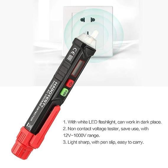 Jourbon Detector De Voltaje Sin Contacto Probador 12V-1000V ...