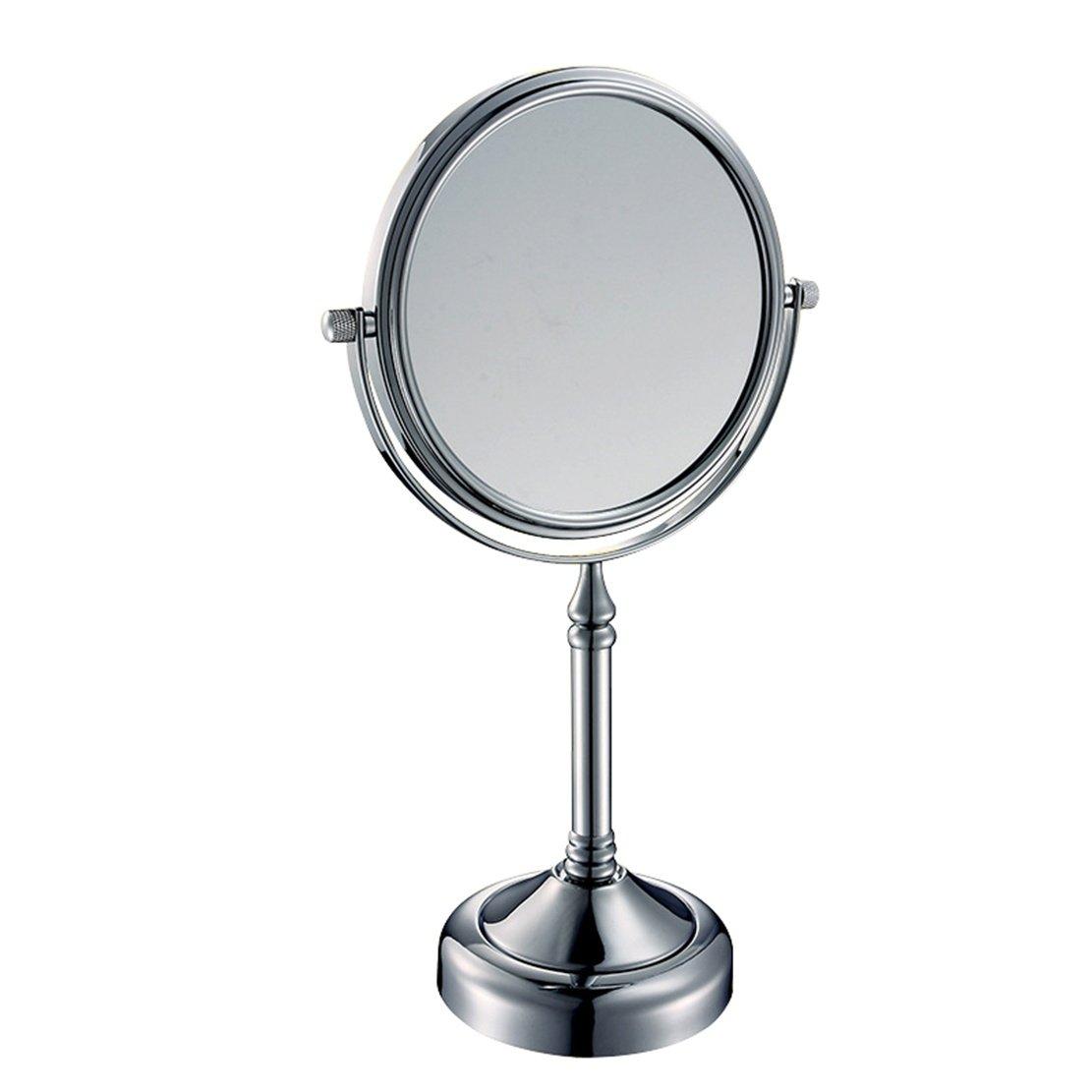 Ysayc 3X Tabletop Makeup Mirror Swivel Beauty 360° Free Rotating Metal Desktop Horizontally Hotel Bathroom Vanity Mirror. Chrome, 8 inch