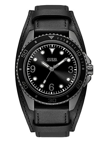 Guess Men's Stainless Steel Casual Leather Cuff Watch, Color: Black (Model: (Color Fashion Cuff Watch)