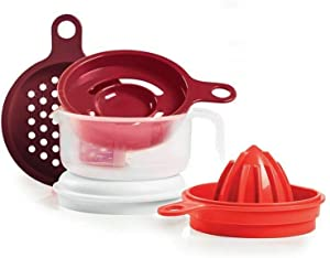Tupperware Cooks Maid Strainer-reamer-juicer-grater-egg Separator - Red