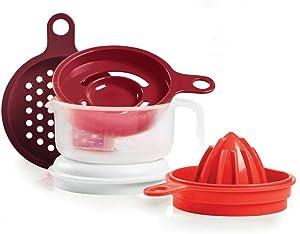 Tupperware Cooks Maid Strainer-reamer-juicer-grater-egg Separator - Red