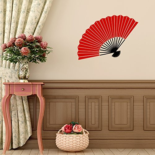 (Vinyl Wall Decal Chinese Oriental Hand Fan Design Decoration Asian Cultural Decor)