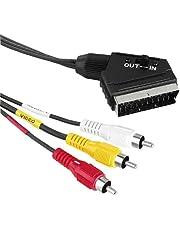 Hama Câble audio-vidéo péritel sur 3 fiches Cinch (câble adaptateur vidéo/stéréo, sortie in/out, longueur de câble 150 cm)