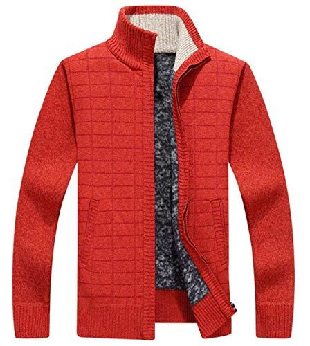 Thick Men's Coat High Jacket Outwear Winter Long Slim Fit Huixin Orangered Jackets Fashion Leisure Coat Neck Apparel Velvet Warm Sleeve Sqd8vvwE