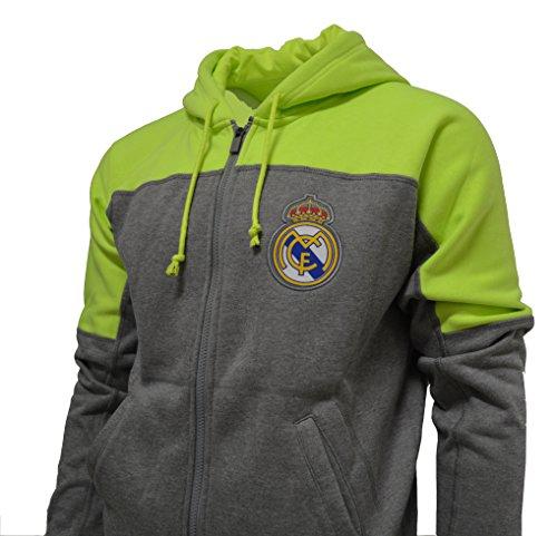 Real Madrid Hoodie Zip Front Fleece Sweatshirt Jacket Gray
