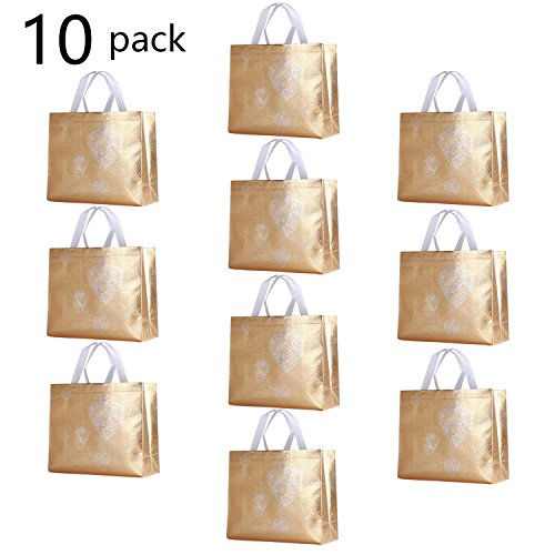 Rumcent Glossy Glitter Durable Reusable Grocery Bag Tote Bag Handles Bag,Medium Non-woven Fashionable Present Bag Gift Bag,Goodies Bag Shopping Bag,Promotional Bag,Totes,Bulk Bags Set Of 10 - G