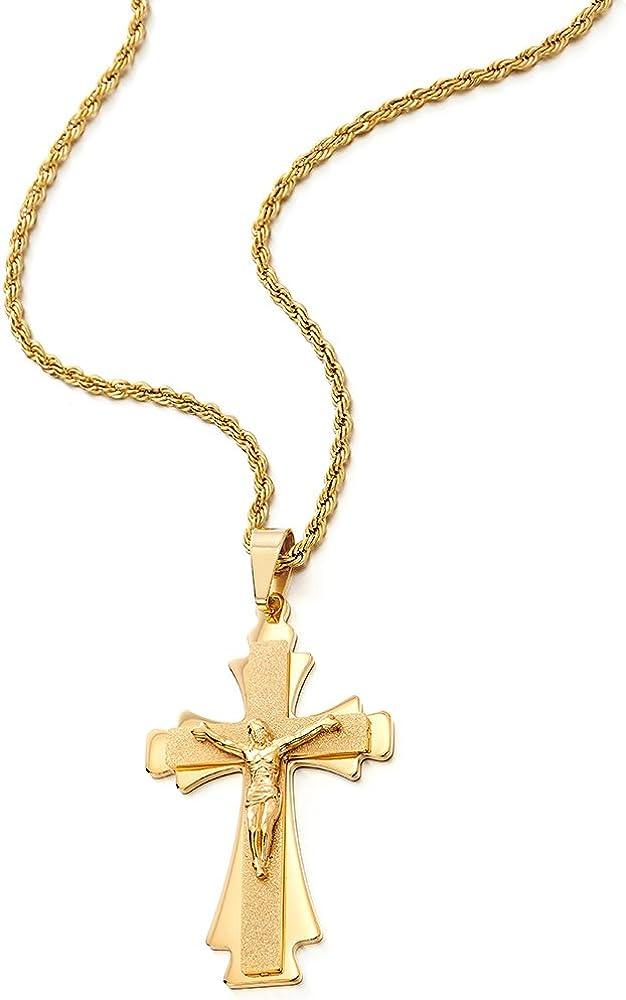 COOLSTEELANDBEYOND Grande Trois Couches Or Couleur J/ésus Christ Croix Crucifix Pendentif Collier Homme Acier avec 75CM Cha/îne