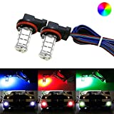 iJDMTOY 27-SMD Multi-Color RGB H11/H8 LED Replacement Bulbs For Fog Lights or Driving Lights