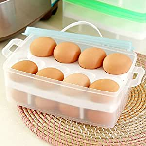 Double Deck Eggs Holder Box Covered Egg Dispenser with Handle for Refrigerator 24-egg Capacity, Color May Vary