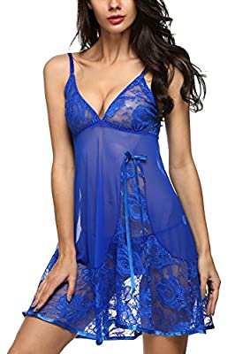 Avidlove Women Lingerie Strap Semi-Sheer Babydoll Polyeater Teddy Patchwork Nightwear