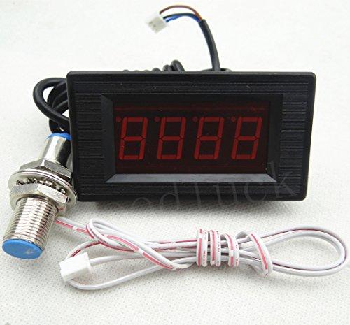 4  Digital Red Led Tachometer Rpm Speed Meter Tester   Hall Sensor Switch Npn
