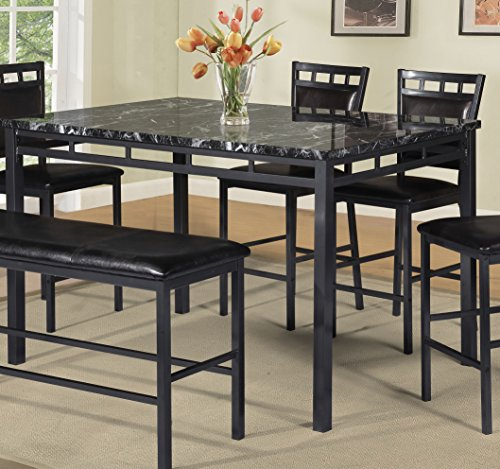 Best Quality Furniture D195T Dining Table Black Faux Marble Top Counter Height Only