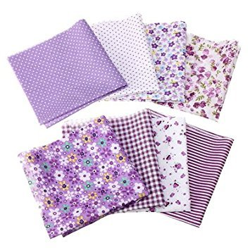 SODIAL(R) 8 PCS Tessuto Assortito Cotone Panno Stoffe Cloth Patchwork Quilting DIY 25 x 25cm