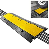 "Durable Cable Protective Ramp Cover - Supports 33000lbs Four Channel Heavy Duty Cord Protection w/Flip-Open Top Cover, 31.5"" x 16.1"" x 3.14"" Cable Concealer for Indoor Outdoor Use - Pyle PCBLCO106"