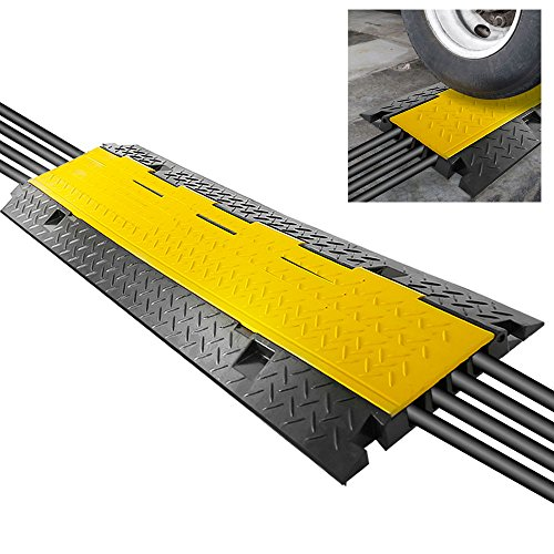 - Durable Cable Protective Ramp Cover - Supports 33000lbs Four Channel Heavy Duty Cord Protection w/Flip-Open Top Cover, 31.5