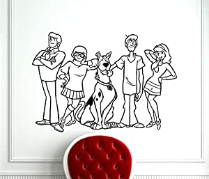 Scooby-Doo Wall Decal Scooby Doo Characters Kids Cartoon Vinyl Sticker Nursery Room Interior Decoration Home Kids Room Art Design Removable Waterproof Mural (407z)