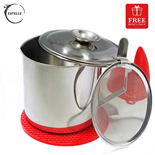 Eatelle Cooking Oil Container and Bacon Grease Keeper with Strainer, Stainless Steel Oil Storage Can - Fat Jar 1.25 Quart - 5 Cups, Traditional Holder and Oil Separator + Red Silicone Mitt and Mat